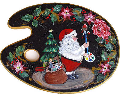 Painting - Santa On A Palette by Quwatha Valentine