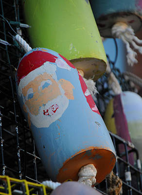 Photograph - Santa On Lobster Trap Buoy by Mike Martin