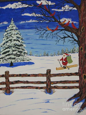 Santa On Skis Original by Jeffrey Koss