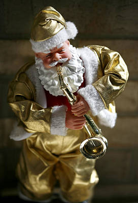 Santa Playing The Saxaphone Original by Marilyn Hunt