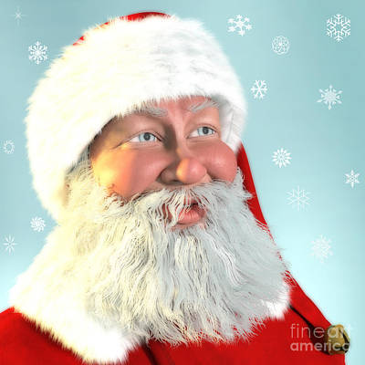 Digital Art - Santa Portait by Methune Hively