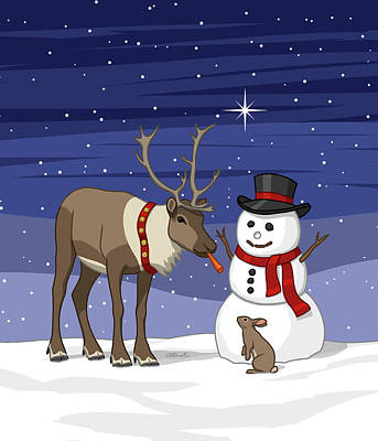 Reindeer Painting - Santa Reindeer And Snowman by Crista Forest