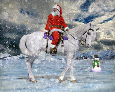 Christmas Holiday Scenery Digital Art - Santa Rides To Town by Betsy Knapp