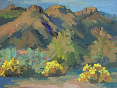 Art Print featuring the painting Santa Rosa Mountains And Brittle Bush by Diane McClary