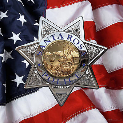 Law Enforcement Digital Art - Santa Rosa Police Departmen Badge Over American Flag by Serge Averbukh