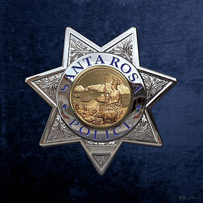 Law Enforcement Digital Art - Santa Rosa Police Department Badge Over Blue Velvet by Serge Averbukh