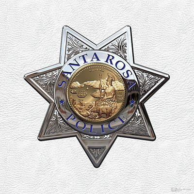 Santa Rosa Police Department Badge Over White Leather Art Print by Serge Averbukh