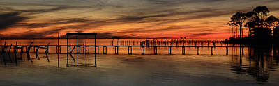 Photograph - Santa Rosa Sound Sunset Silhouettes Panoramic by Jeff at JSJ Photography