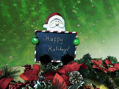 Digital Art - Santa Sign - Happy Holidays by Leslie Montgomery