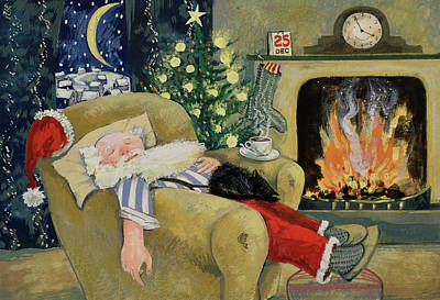 Mantlepiece Painting - Santa Sleeping By The Fire by David Cooke