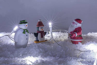 Photograph - Santa Snowman And Penguin by Steve Purnell