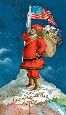 Arctic Drawing - Santa Standing On The Globe by American School