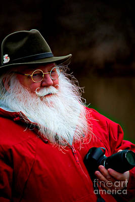 Santa Taking Photos On His Day Off Art Print by Kathy Liebrum Bailey
