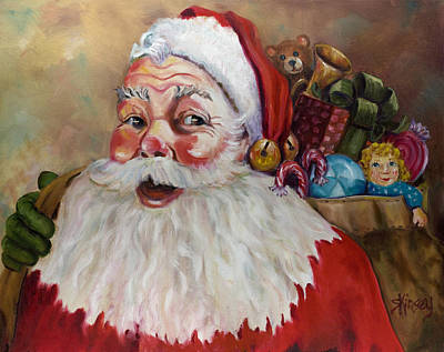 Santa With Bag Of Toys Art Print by Sheila Kinsey