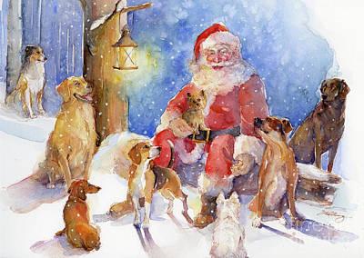 Santa With Dogs Art Print