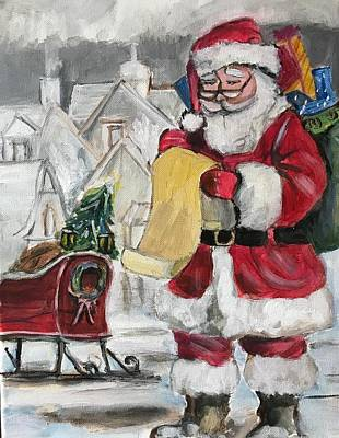 Painting - Santa With List by Denice Palanuk Wilson