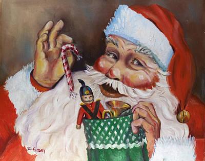 Santa With Stocking Print by Sheila Kinsey