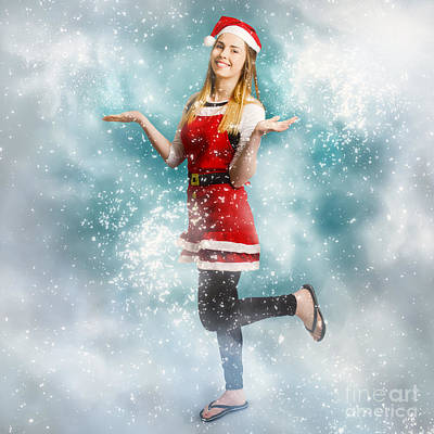 Photograph - Santa Woman Playing In Magic Christmas Snow by Jorgo Photography - Wall Art Gallery