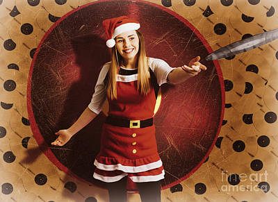 Disc Photograph - Santa Woman Spinning Christmas Music At Club by Jorgo Photography - Wall Art Gallery