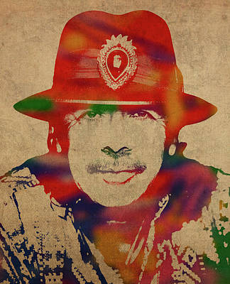 Santana Mixed Media - Santana Watercolor Portrait by Design Turnpike