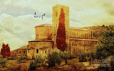 Tuscany Art Mixed Media - Sant'antimo by KaFra Art