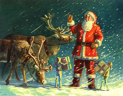 Christmas Greeting Painting - Santas And Elves by David Price