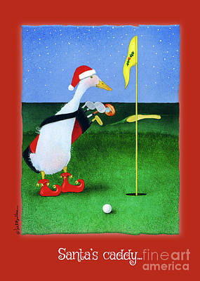 Golf Art Painting - Santa's Caddy... by Will Bullas