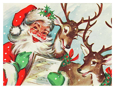 Reindeer Painting - Santa's Choir by Long Shot