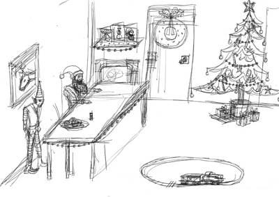 Matthew Joseph Williams Drawing - Santas Chrismassy Office by Artists With Autism Inc