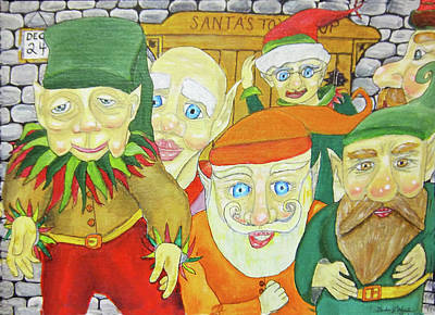 Santas Elves Art Print by Gordon Wendling