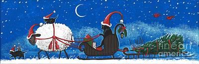 Painting - Santas Helpers by Margaryta Yermolayeva