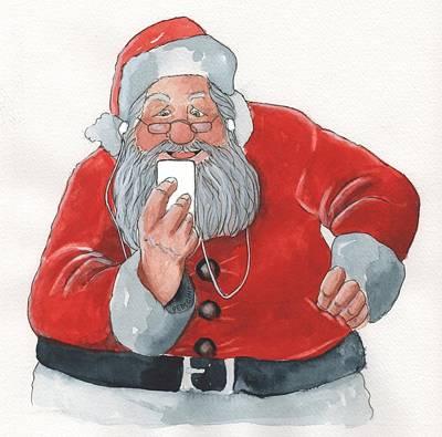 Santa's New Ipod Art Print by Don Pedicini