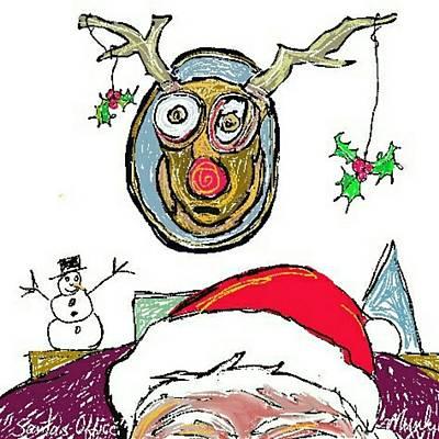 Drawing - Santa's Office by John Stillmunks