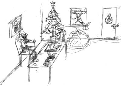 Matthew Joseph Williams Drawing - Santas Office by Artists With Autism Inc