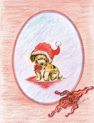 Drawing - Santa's Puppy by Teresa White