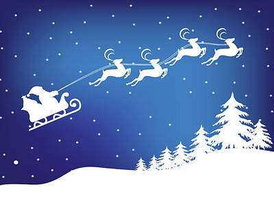 Digital Art - Santa's Sleigh And Reindeer Christmas Card by Serena King