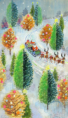 Reindeer Painting - Santa's Sleigh by David Cooke