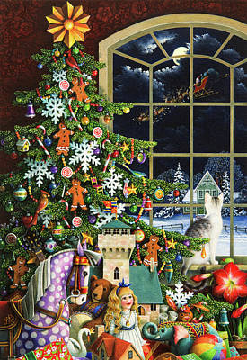 Painting - Santa's Visit by Lynn Bywaters