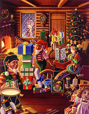 Painting - Santa's Workshop by Robin Moline