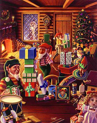 Painting - Santa's Workshop by Robin Moline