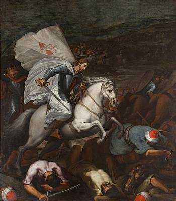 Vicente Painting - Santiago At The Battle Of Clavijo by Carducho