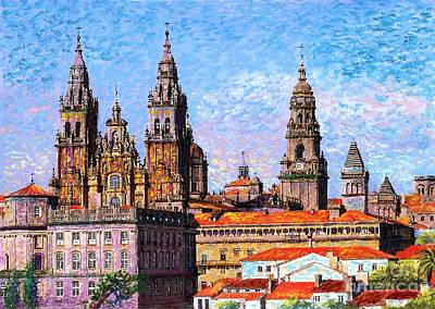 Sunny Day Painting - Santiago De Compostela, Cathedral, Spain by Jane Small