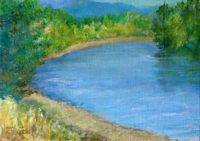 Painting - Santiam River - Summer Colorful Original Landscape by Elizabeth Sawyer