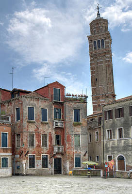Photograph - Santo Stefano Venice Leaning Tower by Alan Toepfer