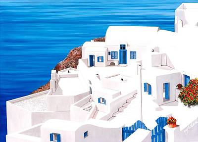 Gate Painting - Above Atlantis In Santorini - Prints Of Original Oil Painting by Mary Grden Fine Art Oil Painter Baywood Gallery
