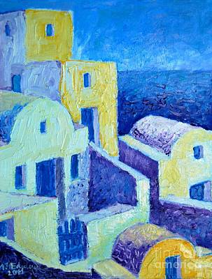 Villa Painting - Santorini Architecture by Ana Maria Edulescu