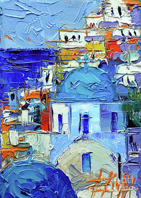 Painting - Santorini Blue Cupolas - Mini Cityscape 10 - Palette Knife Oil Painting by Mona Edulesco