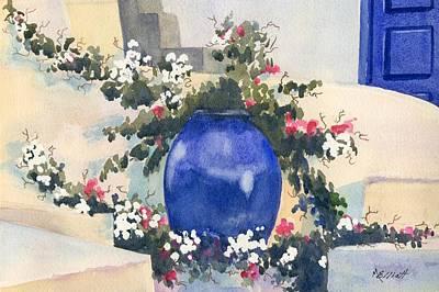 Santorini Blues Art Print by Marsha Elliott