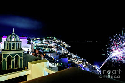 Photograph - Santorini Caldera View At Night With Fireworks - Santorini, Greece by Global Light Photography - Nicole Leffer