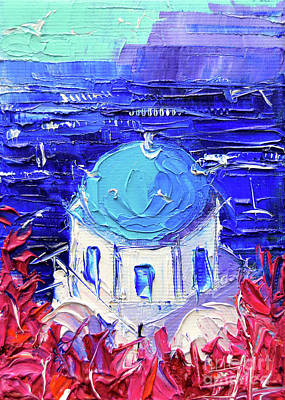 Painting - Santorini Church Cupola - Mini Cityscape 11 - Palette Knife Oil Painting by Mona Edulesco
